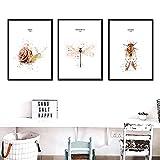 Insekten-Wandkunst, Aquarell, Zikada, Libelle, Schnecke,