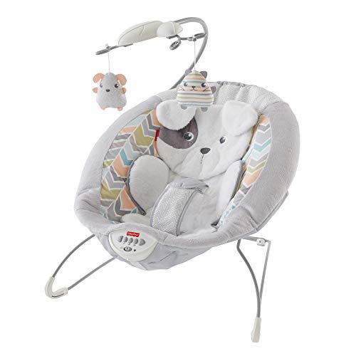 Fisher-Price Sweet Snugapuppy Deluxe Bouncer, Portable Bouncing Baby Seat with Overhead Mobile, Music, and Calming Vibrations