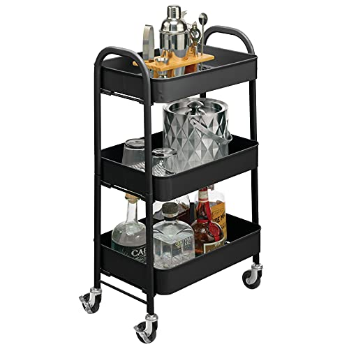 mDesign smart hylla med hjul för kök och städning – förvaring på hjul med 3 hyllplan – smal hylla i metall för kök och badrum – matt svart