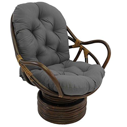 Blazing Needles Solid Twill Swivel Rocker Chair Cushion, 48' x 24', Steel Grey