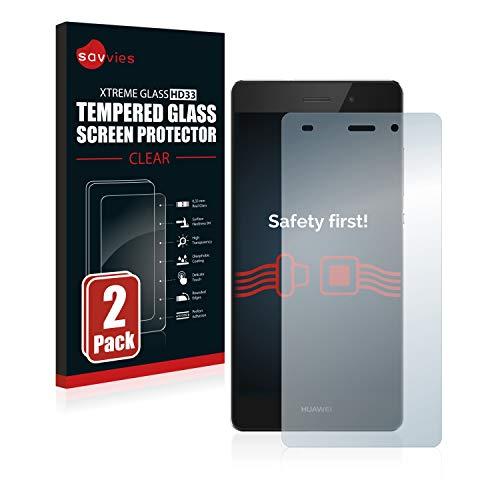 Savvies Panzerglas kompatibel mit Huawei P8 Lite 2015/2016 (2 Stück) - Echt-Glas, 9H Festigkeit, Anti-Fingerprint
