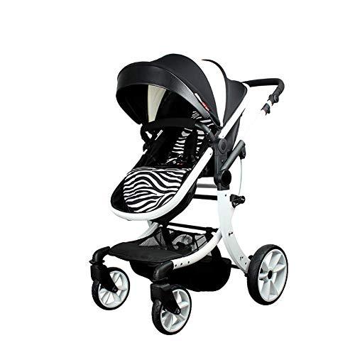 ZouYongKang Cochecito de bebé, respaldo ajustable, cesta de almacenamiento, cochecito plegable de freno de un paso, cochecito de doble uso, cochecito de dos vías con rueda de amortiguador Simple High-