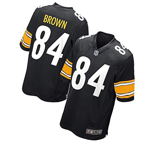 84# Antonio Brown Pittsburgh Steelers Rugbytrikot Fußballtrikot für Männer-Unisex-Trainingshemden Weißes Polo-Shirt Kinder Sportswear Besticktes Stoff Fans Sweatshirt-Black-S