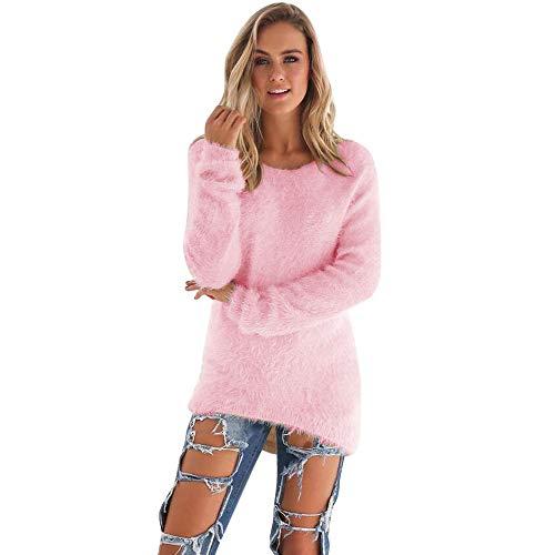 SHOBDW Mujer Suéter para Mujer Cuello Redondo Cárdigan Ocasional Sólido Suelto Otoño Invierno Tops de Manga Larga Cálido Prendas de Punto Jersey Jerséis Blusa Abrigo Vestido(Rosa,S)