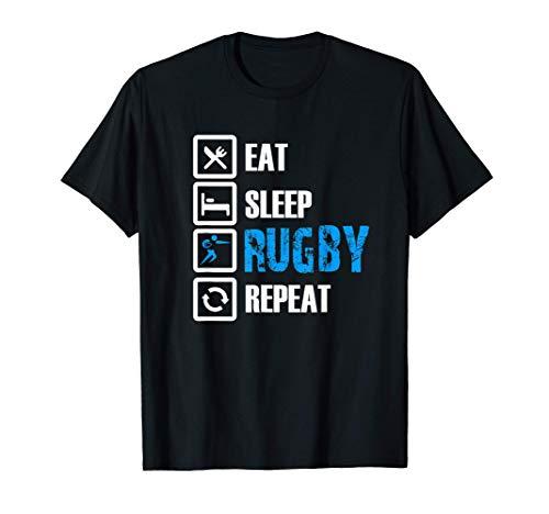 Divertente abbigliamento da rugby: mangia il sonno del rugby Maglietta