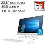 "2019 HP 23.8"" FHD Touchscreen IPS-WLED Backlit Micro Edge Display AIO Desktop Computer, 7th Gen AMD A9-9425 Up to 3.7GHz, 8GB DDR4 RAM, 1TB HDD, 802.11AC Wifi, Bluetooth 4.2, HDMI, USB 3.0, Windows 10"