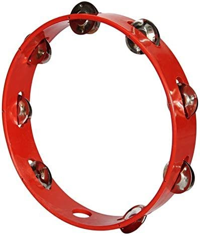 Sai Musical Khanjari Tambourine Hand Percussion Instrument 10 Inch (Red)