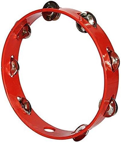 Sai Musical Khanjari Tambourine Hand Percussion Instrument 10 Inch Red
