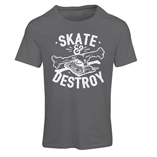 lepni.me Maglietta Donna Skate And Destroy, Regalo per Skater, Amanti dello Skateboard (XX-Large Grafite Multicolore)