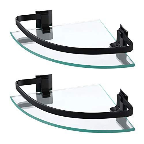 KES Estanteria Baño Esquina Balda Cristal Aluminio 8mm Cristal Templado Negra 2 Piezas, A4120A-BK-P2
