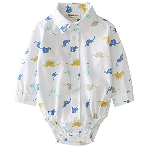 MOMOLAND Infant Baby Boys Plaid Bodysuit Woven Shirt Button Up Long Sleeves Navy (Dinosaur, 12-18 Months)