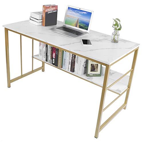 Escritorio de computadora, escritorio de computadora portátil Escritorio de estudio de escritura simple moderno Mesa de escritura con estante de almacenamiento para oficina en casa,