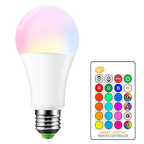 15W RGB Led Bombilla, E27 2700K Blanco Cálido y RGBW 16 Colores que cambia las bombillas LED Regulable Flash, Bar de fiesta decorativo Iluminación