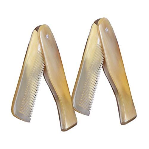 Artibetter 2 Pcs Ox Corne Peigne Fine Dent Pliant Cheveux Barbe Peigne Portable Poche Voyage Taille De Massage Peigne Cheveux Styling Accessoires