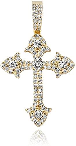 Collar Mujer Collar Hombre Colgante La Cruz Flor de Ciruelo Colgante de Cruz de Diamante Completo Pequeño Collar de Moda y Hip Hop Accesorios de joyería de Lujo Ligero (Color: Oro) Collar Niñas Niños