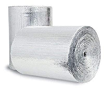 "US Energy Products Double Sided Reflective Heat Radiant Barrier Aluminum Foil Insulation (1/4 Thick R8 Double Poly-Air) Roll: Walls Attics Air Ducts Windows Radiators HVAC Garages + More (24"" x 100')"