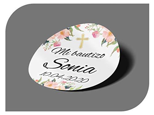 CrisPhy Pegatinas Personalizadas Comunion o Bautizo con Nombre y Fecha, Etiquetas Adhesivas para Invitacion Boda, Compromiso, Cumpleaños, Fiesta, Vintage, Sellos (Modelo 1)