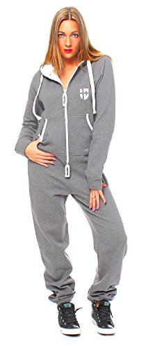 Hoppe Gennadi Damen Jumpsuit Onesie Jogger Einteiler Overall Jogging Anzug Trainingsanzug - Slim FIT,hellgrau,S