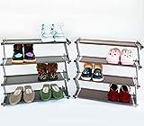 Shoe Rack Organizer for Entryway, Plastic & Metal Shoe Rack, 2 Packs Grey & Brown Shoe Rack Shelf for Entryway, 4-Tier Shoe Rack Small 18.7