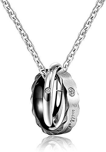 NC122 Collar para Hombres y Mujeres, Regalos con Colgante, joyería de Pareja de Acero de Titanio, Regalo pequeño, Anillo Doble, Pareja de Titanio