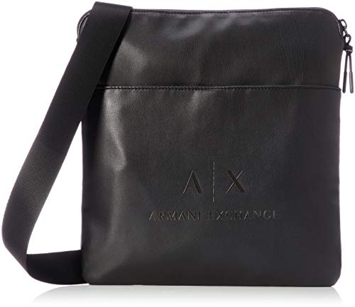 Armani Exchange - Medium Flat Crossbody Bag, Bolso bandolera Hombre, Negro (Black/Gun...
