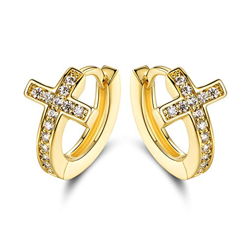Barzel 18k Gold Layered Crystal Cross Earrings Made With Swarovski Elements