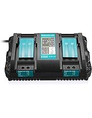 マキタ互換充電器 DC18RD 14.4V-18V 用 2口充電器 2本同時に充電可能 スマホ 充電可能 マキタリチウムイオンバッテリ用 BL1430 BL1440 BL1450 BL1460 BL1815 BL1830 BL1840 BL1850 BL1860 BL1430B BL1460B BL1830B BL1850B BL1860B 対応 充電提示メロディ付き
