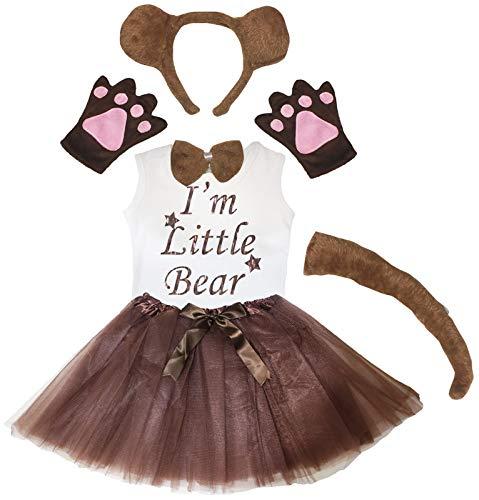 Petitebelle Guantes para la cabeza de la camiseta de I'm Little Bear Tutu 6 piezas disfraz de nia 1-8 aos (marrn [cola larga], 3-4 aos)