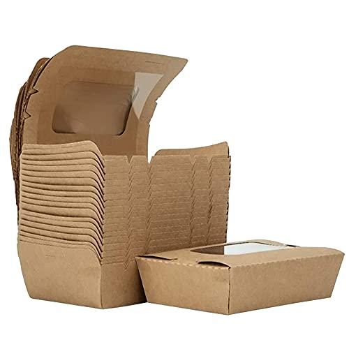 Qffq Kraftpapier Lunchbox, 20 Stücke Kraftkarton Snackboxen, Take Away Box, mit Fenster, Öl und Wasserdicht, für Sandwich, Käsekuchen, Burger (700ml/24oz)