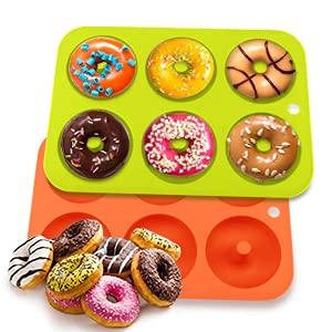 Moules à Donuts en Silicone,Lot de 2 moules à donuts Antiadhésif à 6 Trous pour Muffins Bagels Biscuits Gâteaux lAnniversaire et la Fabrication de Beignets,Vert Orange