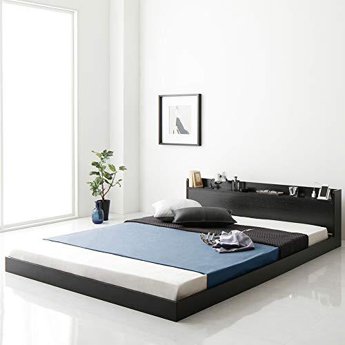 ベッド 低床 ロータイプ すのこ 木製 宮付き 棚付き コンセント付き シンプル モダン ブラック シングル ベッドフレームのみ 『Etany』エタニー