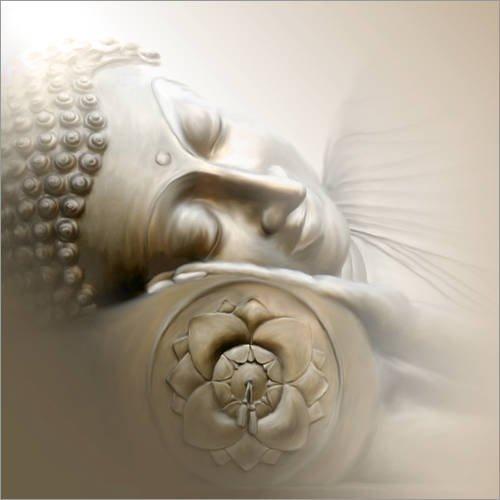 Posterlounge Acrylglasbild 30 x 30 cm: Schlafender Buddha von Christine Ganz - Wandbild, Acryl Glasbild, Druck auf Acryl Glas Bild