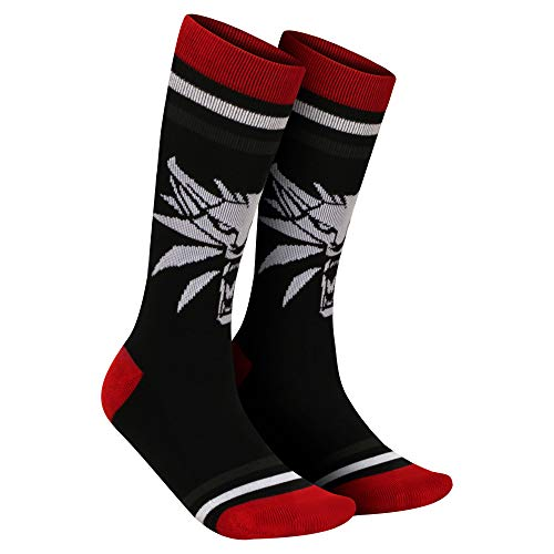 JINX The Witcher 3 White Wolf Embroidered Athletic Crew Socks, 1 Pair