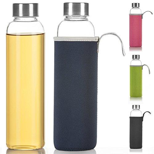 Dimono Classic Trinkflasche aus Glas 600ml - Sport Glasflasche Wasser-Flasche; bruchsicher mit isolierender Nylon Thermo-Hülle - Blau