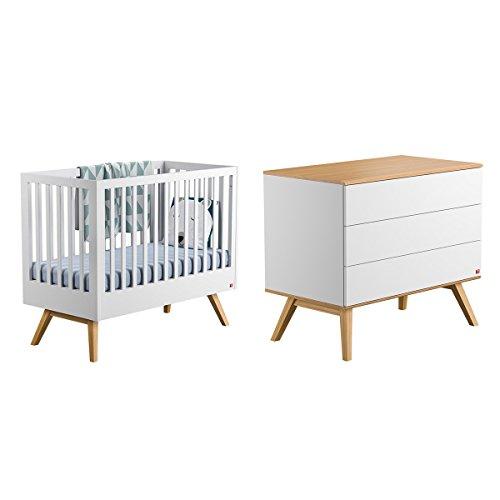 Lit bébé 60x120 et Commode à langer Nature - Blanc