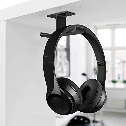 Kopfhörerständer, APPHOME Adhesive Earphone Unterpult-Ankerbügel Headset-Halter zum Aufkleben mit Schrauben für Gaming-Kopfhörer von Bose, Office & Home Desk Organizer, Schwarz