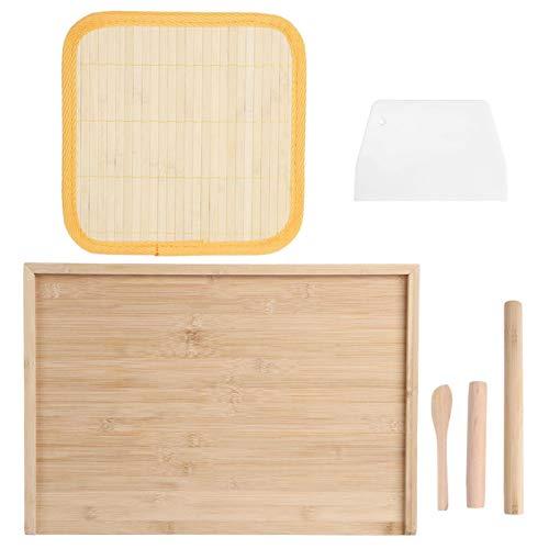 lyrlody- Tabla de Cortar, Juego de Utensilios de Cocina Rodillo Cortador de Pasta Tabla de Cortar, Cocina de bambú para el hogar