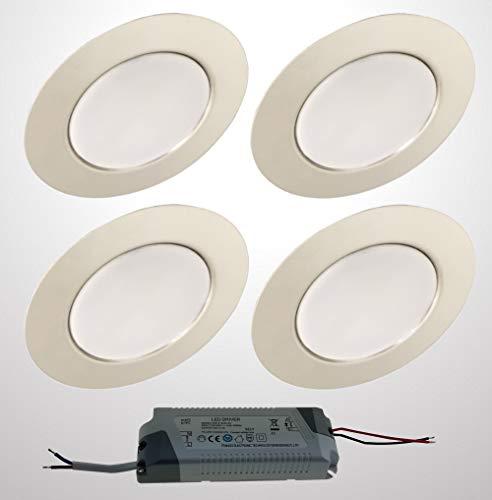 Trango 4er Set G4E-048T LED Möbel Einbaustrahler 12Volt AC/DC inkl. 1x LED-Trafo (12 Volt - 2A) Einbauleuchte, Deckenleuchte Chrom-Optik zum Austausch G4 Halogen Möbelleuchten, Küchenhaube-Leuchten