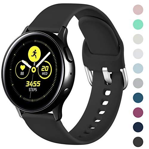 Wepro Armband Kompatibel mit Samsung Galaxy Watch Active/Active2 40mm/44mm, 20mm Weiche Silikon Ersatz Uhrenarmbänder Kompatibel mit Samsung Galaxy Watch 42mm/Gear S2 Classic/Gear Sport, Groß Schwarz