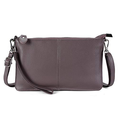Befen Women's Leather Wristlet Clutch Phone Wallet Small Crossbody Purses and Hangbag with Card Slots - Taupe Purple