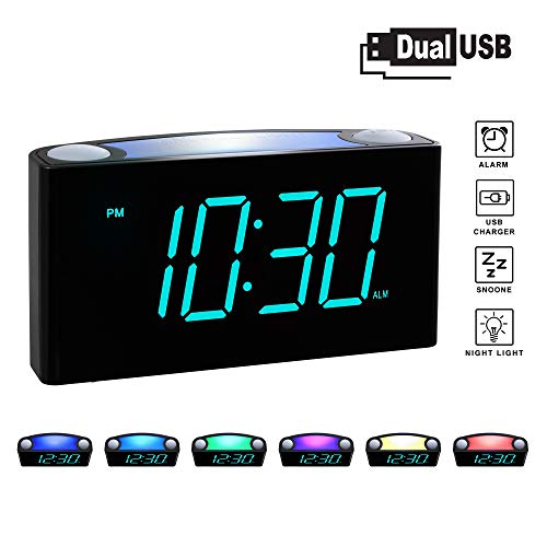Rocam Digital Alarm Clock for Bedrooms - Large 6.5' LED Display with Dimmer, Snooze, 7 Color Night Light, Easy to Set, USB Chargers, Battery Backup, 12/24 Hour for Kids, Heavy Sleepers, Elderly (Blue)