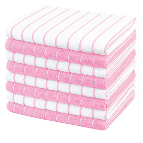 Gryeer Microfibre Tea Towels - Pack of 8 - Pink and White