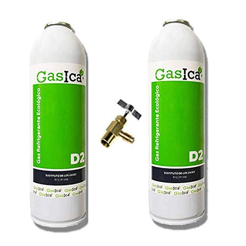 REPORSHOP - 2 Botellas Gas Ecologico Gasica D2 312G + Valvula Sustituto R12, R134A Freeze Organico
