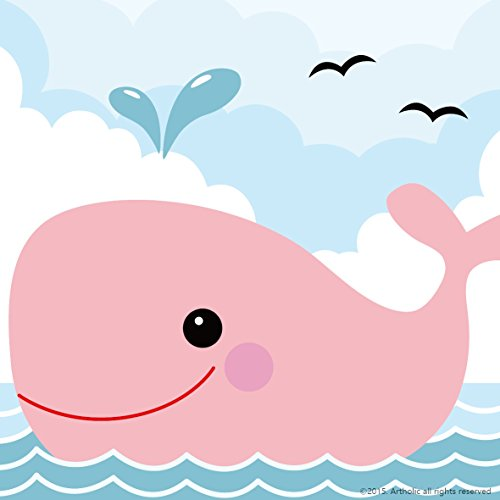 "Colour Talk DIY Oil Painting, Paint by Number Kits for Kids - Pink Small Whale 8""X 8""."