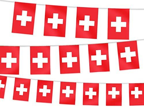 Alsino Wimpel Dekoration Länderwimpel Länderfahnen Wimpelkette Länderflaggen Fanartikel, wählen:W-Che Wimpel Schweiz 4.50 m