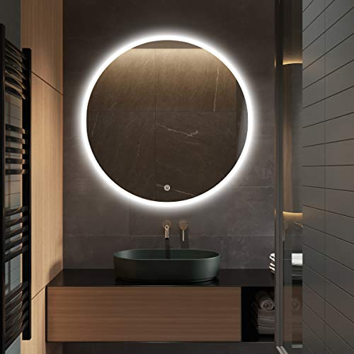 S·bagno 32 Inch Diameter Modern Round Illuminated LED Bathroom Mirror, with Built-in -