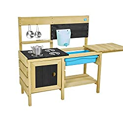 The TP Deluxe Wooden Mud Kitchen is made from FSC certified timber The ultimate mud kitchen featuring an oven with door and removable splash tub, a starter set of stainless steel pans and mixing whisk Supplied with a refillable water butt and tap, pe...