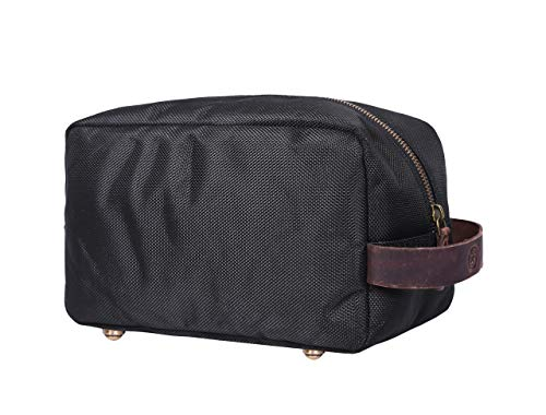 Aaron Leather Goods Leather Toiletry Bag for Men Waterprrof Travel Dopp Kit (Raven)