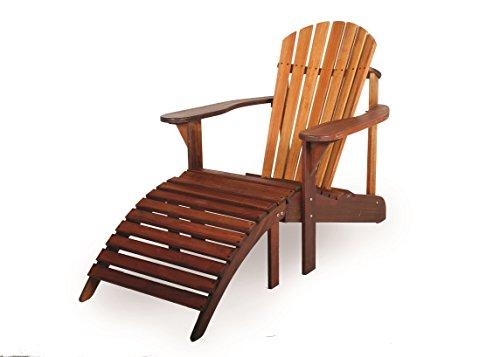 Adirondack Gartenstuhl + Fußstütze, aus exklusivem Mahagoni Hartholz, geölt, Edelstahlverschraubungen