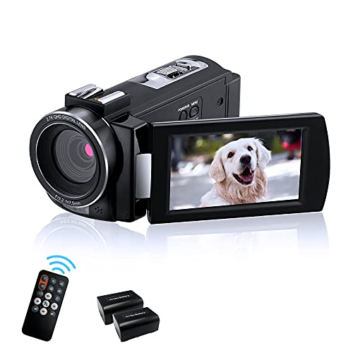 Video Camera Camcorder 2.7K ORDRO AE7 Digital Camera FHD 1080P 30FPS IR Night Vision Camcorders with Remote Control with 2 Batteries